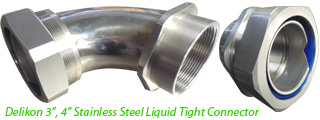 "Delikon 3"", 4"" Stainless Steel Liquid Tight Connector with male or female threads,PG,M,G,NPT,for oil and gas industry, water treatment plant, Food, Pharmaceutical, Brewing, Dairy and Soft Drinks industries cable protection"