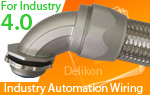 Delikon heavy series over braided flexible conduit and conduit fittings are specifically designed to protect Industry 4.0 power, control and instrumentation cable.