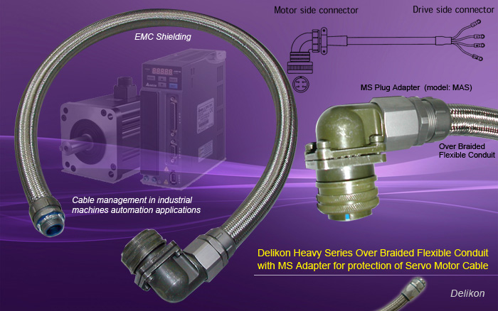 Delikon Heavy Series Over Braided Flexible Conduit with MS Adapter for Servo Motor Cable